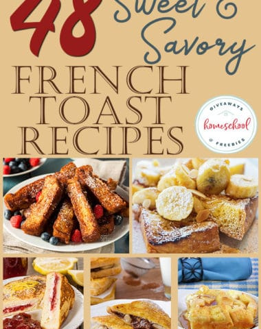 Do your kids love french toast? Did you know there were so many different options and varieties? This list will give you inspiration for french toast recipes to last your family more than a month! And the best part...you can make many of these ahead of time for an easy morning treat! #breakfast #frenchtoast #recipes #hsgiveaways