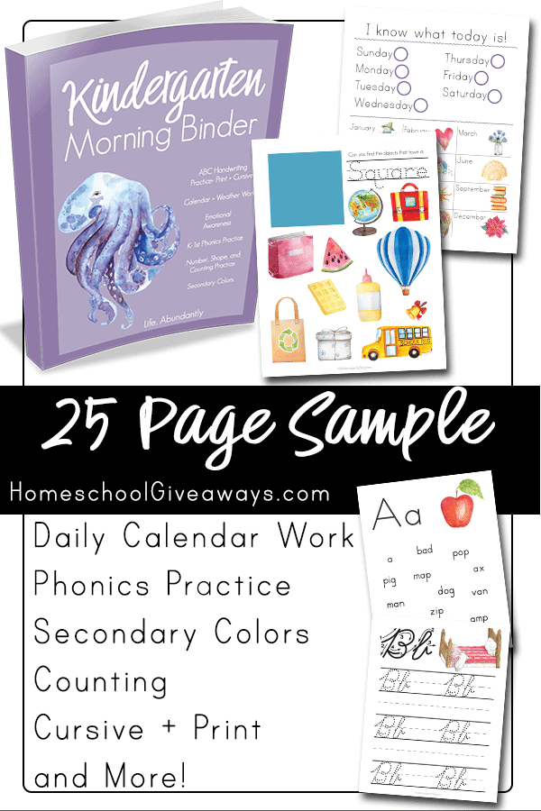 Looking for an easy way to keep your preschooler or kindergarten student busy while practicing basic skills each day to keep them fresh? This 25 page sample of the Kindergarten Morning Binder from Life Abundantly will help! It includes calendar pages, color blends, shape practice, a daily emotional inventory, weather observation, counting, and more!