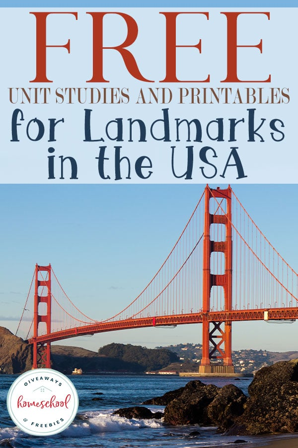 USA Landmarks are great to learn when you are studying USA geography. Check out these FREE Unit Studies and Printables! #usalandmarks #usageography