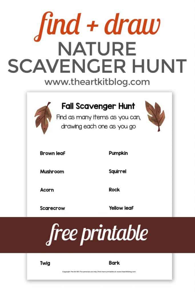 sample page of nature scavenger hunt