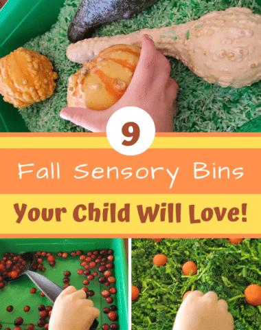 Fall sensory bins great for fall or Thanksgiving. #preschool #sensorybin #sensory #finemotor #Thanksgivingactivities