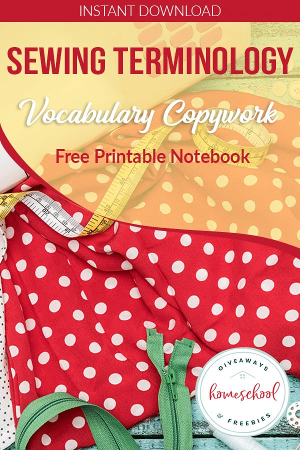 sewing materials with overlay sewing terminology vocabulary copywork Free Printable Notebook