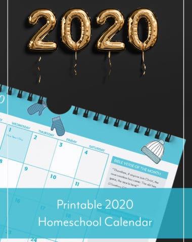 Printable 2020 Homeschool Calendar