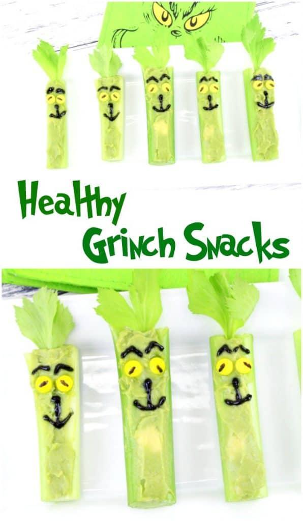 celery stuffed with avocado for Grinch snacks