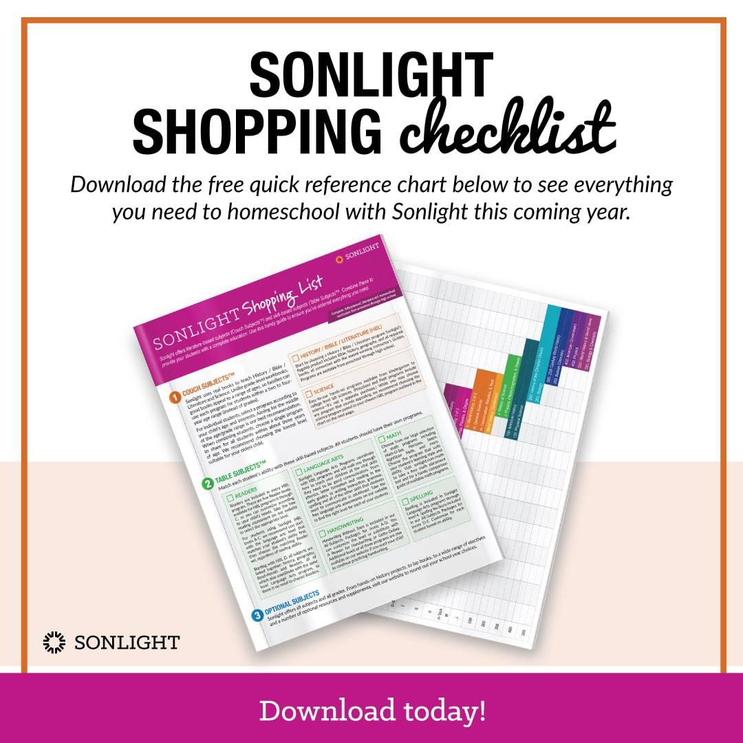 Sonlight Shopping Checklist