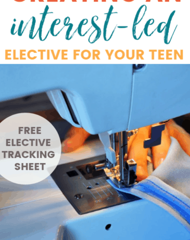 sewing machine with text overlay about interest-led electives for homeschool