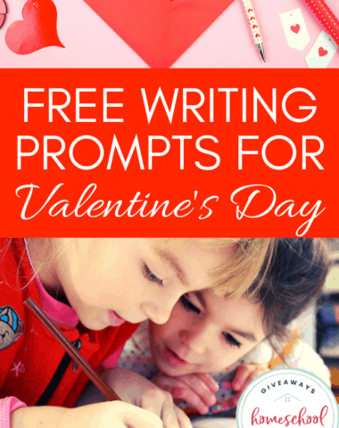 children writing with heart background and text overlay free writing prompts for valentines day.