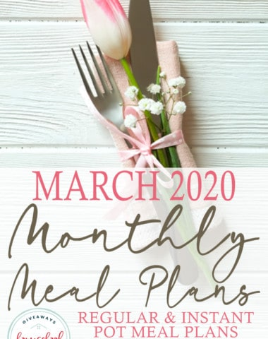 "spring table setting on white board background with overlay ""March 2020 Monthly Meal Plans"""