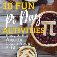 images of pies with the greek symbol for Pi (3.14) with text overlay. 10 Pi Day Activities. Easy & Fun Ways To Learn about Pi (3.14) from www.homeschoolgivaways.com
