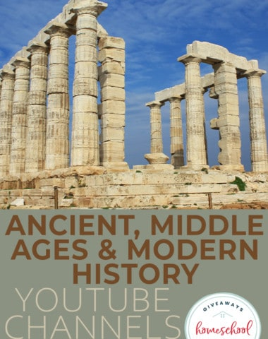 "ancient ruins with overlay text ""Ancient, Middle & Modern History YouTube Channels for Kids"""