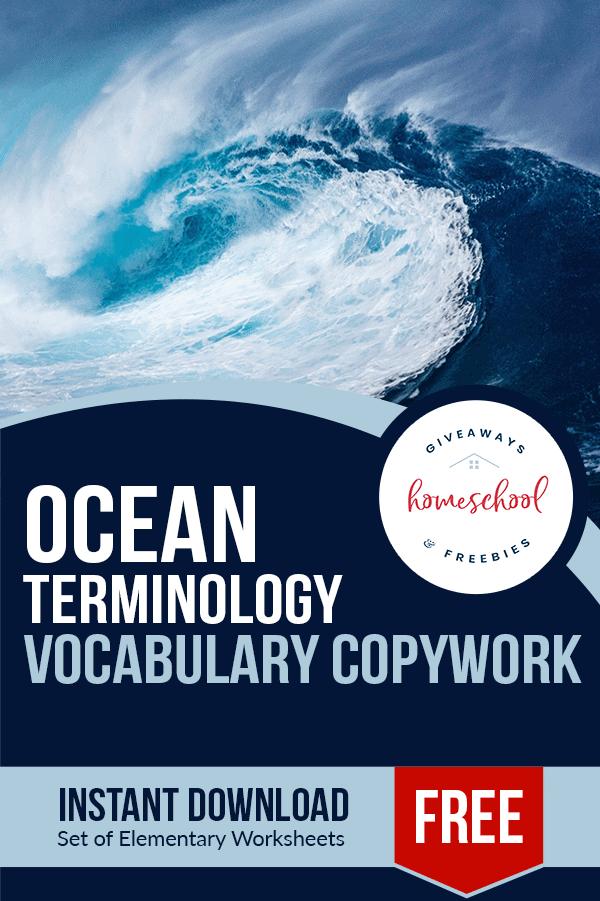 free printable ocean terminology copywork