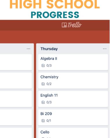 Trello board image for tracking high school progress