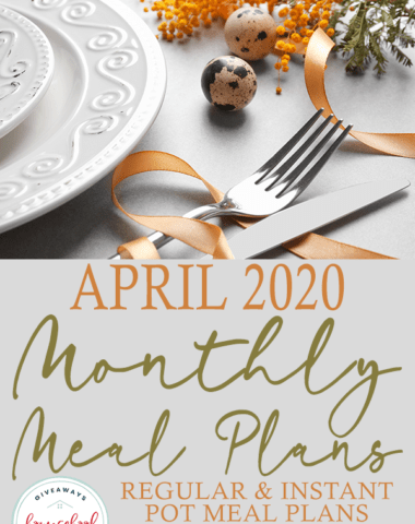 """Easter themed table setting with overlay """"April 2020 Monthly Meal Plans"""""""
