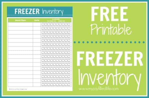 freezer inventory printable page