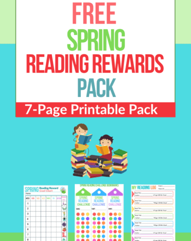 Text overlay Spring Reading Rewards Pack and animation image of kids reading plus three sample printables