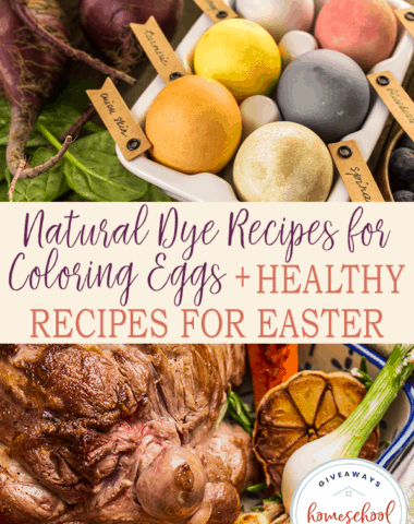 natural dyed easter eggs and healthy lamb meal