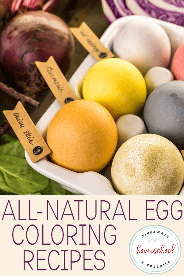naturally dyed eggs with vegetables around them