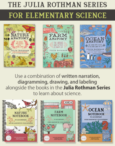 nature and science books and notebooks