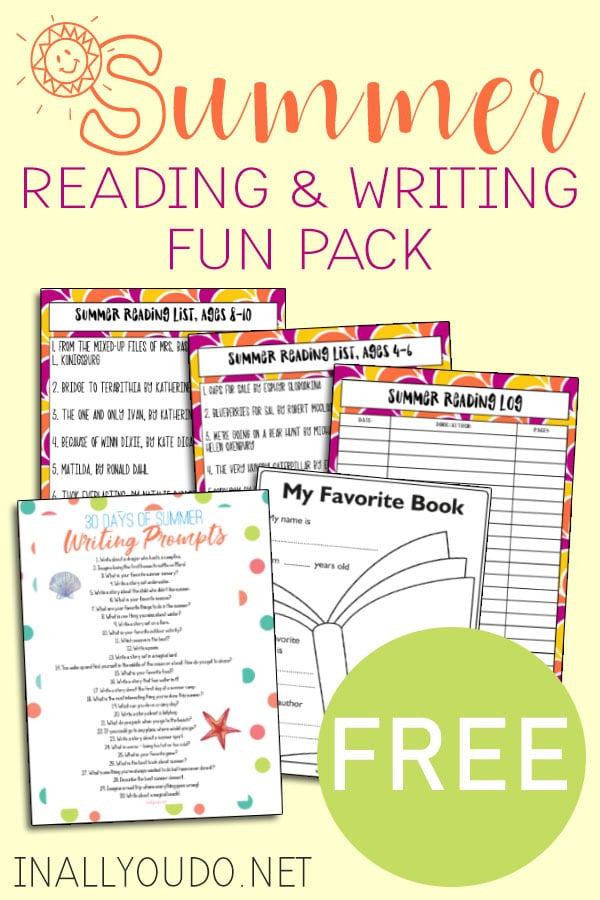 sample pages of Summer Reading & Writing Fun Pack