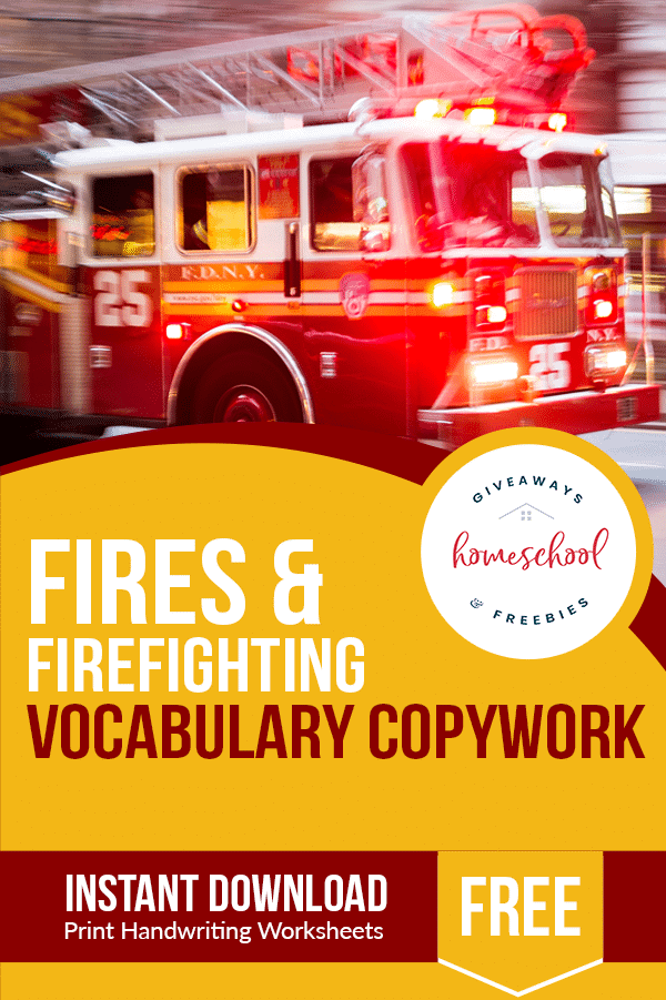 Free Firefighter Themed Vocab Copywork