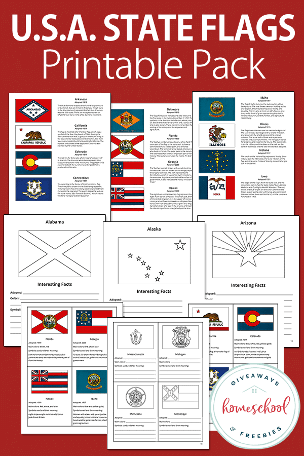 U.S. Flags printable pack