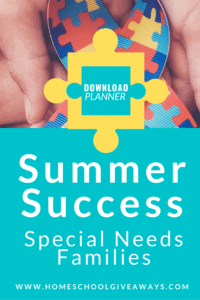 image of hands & colored ribbon with text overlay, Summer Success Special Needs Families Download planner from www.Homeschool Giveaways.com