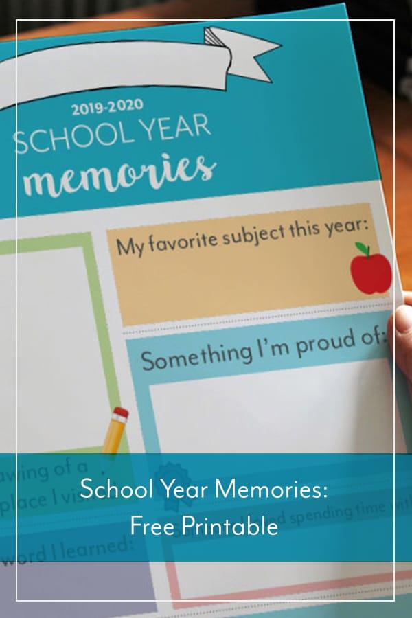 Free School Year Memories Printable
