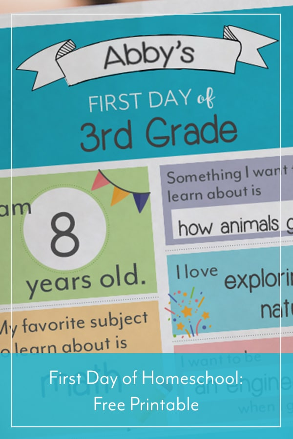 First Day of Homeschool: Free Printable