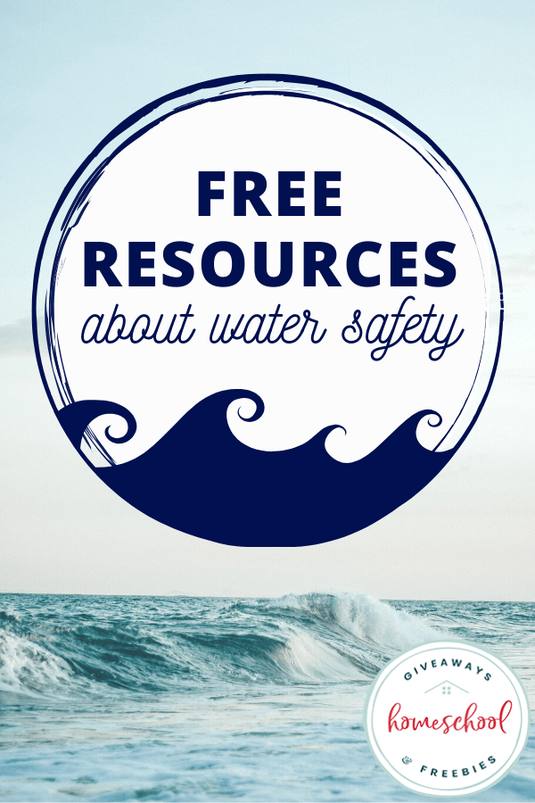 FREE Resources About Water Safety text with image of ocean waves.