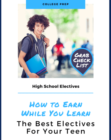 image of student with backpack & notebooks with text overlay. Highschool electives: How to Earn While You Learn. the best higghschool electives for teens from hoewschoolgiveaways.com