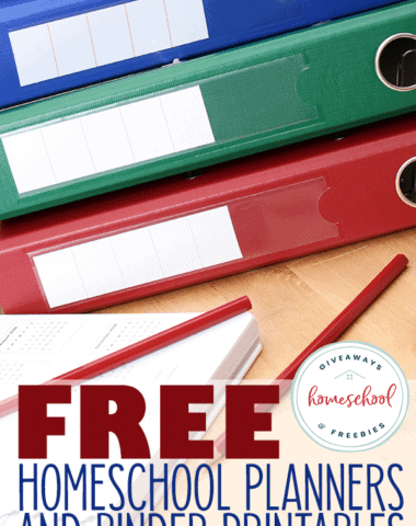 desk with calendar and binders overlay - FREE Homeschool Planners and Binder Printables