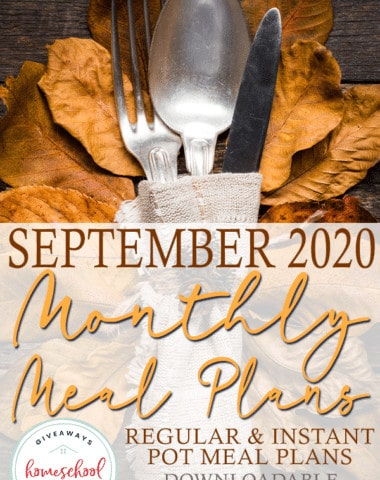 """fall table setting with overlay """"September 2020 Monthly Meal Plans"""""""
