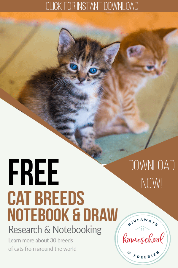free cat breeds notebooking sheets