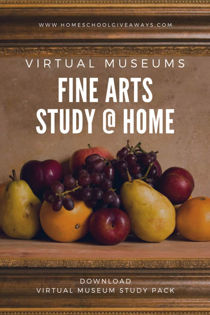 image of Fine Arts still ife image iwth text overlay. Virtual Museums Fine Arts Study @Home from www.HomeschoolGiveaways.com