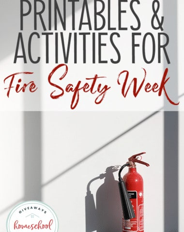 fire extinguisher on blank wall with overlay - Printables & Activities for Fire Safety Week