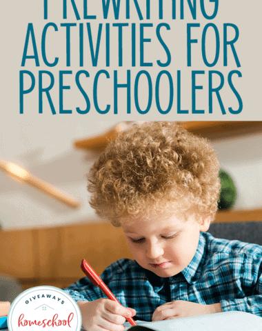 preschool boy writing in book - overlay Prewriting Activities for Preschoolers