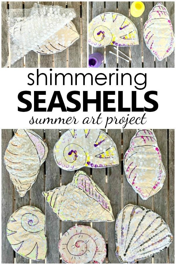 shimmering seashells summer art project