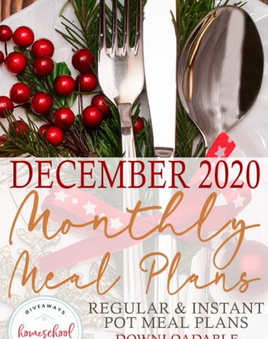 Christmas table setting with overlay - December 2020 Monthly Meal Plans