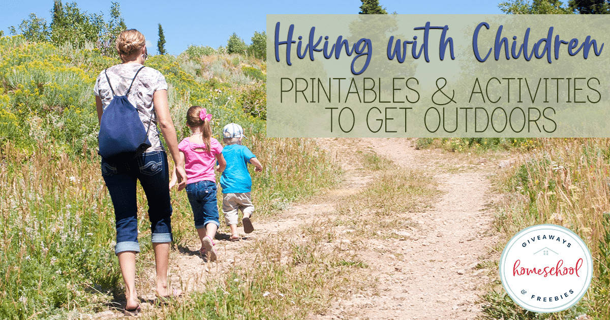 Mom hiking with children