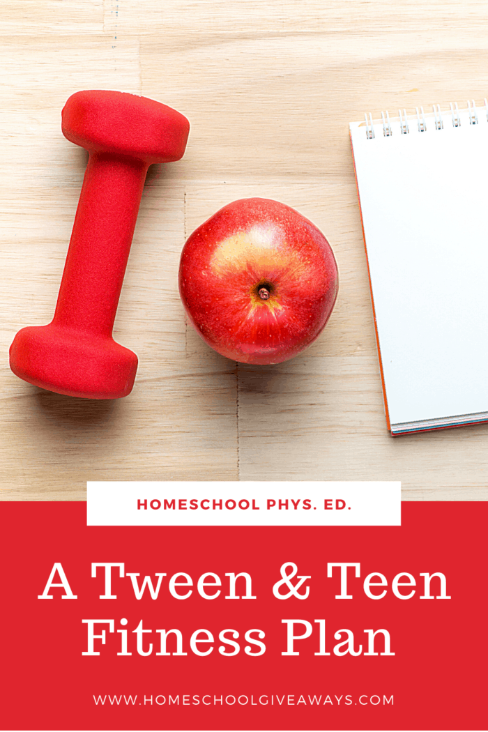image of red dumbell weight, apple & notebook with text overlay. Homeschool Phys. Ed: A Tween & Teen Fitness Plan at www.homeschoolgiveaways.com.