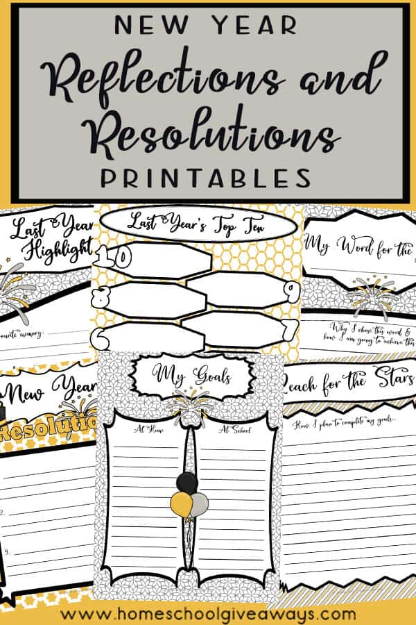 New Year Reflections and Resolutions Printables