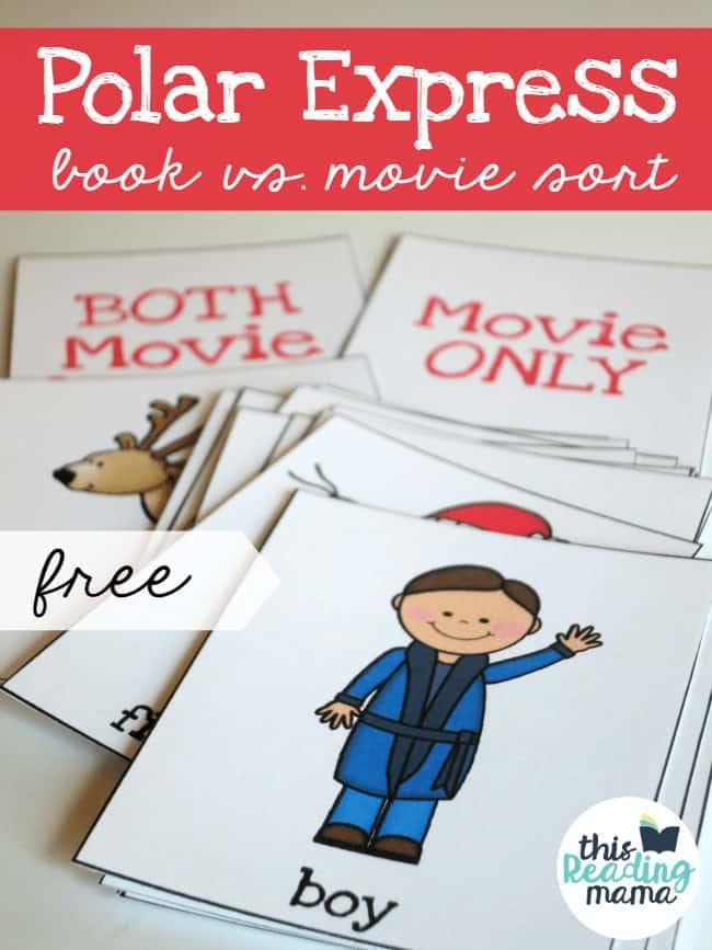 polar express movie v. book sorting card samples