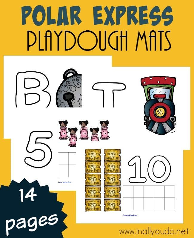 sample pages of Polar Express Playdough Mats