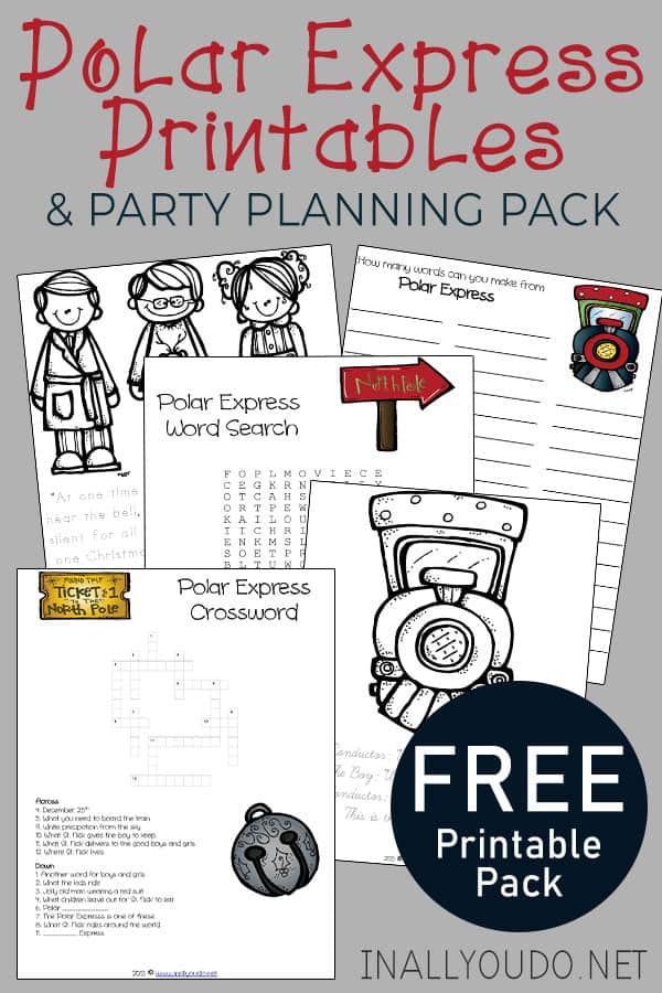 sample pages from Polar Express Printables & Party Planning Pack