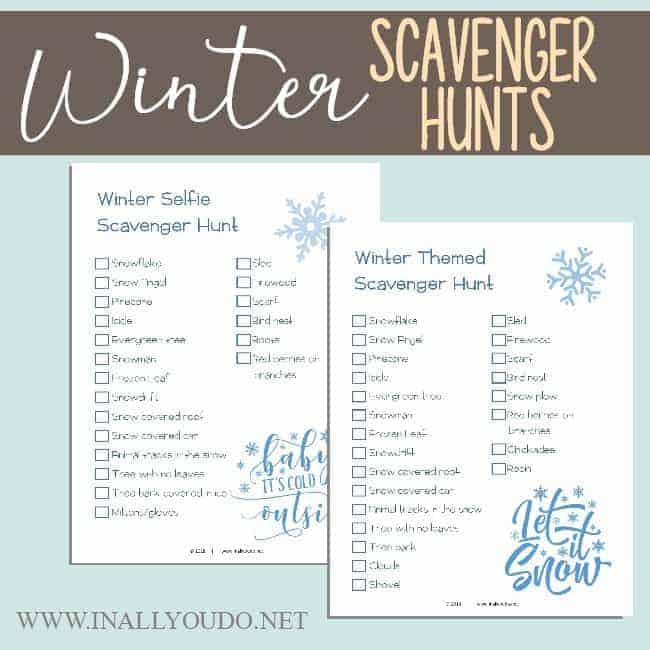 sample pages of Winter Scavenger Hunts