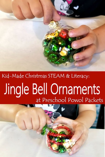 child doing Jingle Bell Ornament craft
