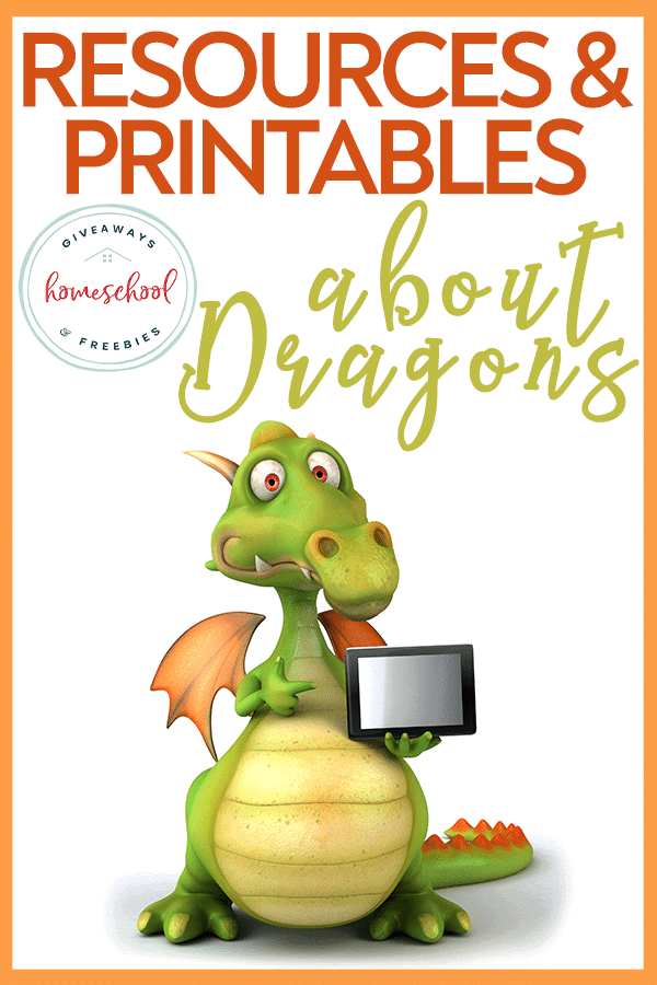 cartoon dragon holding a tablet with overlay - Resources & Printables about Dragons