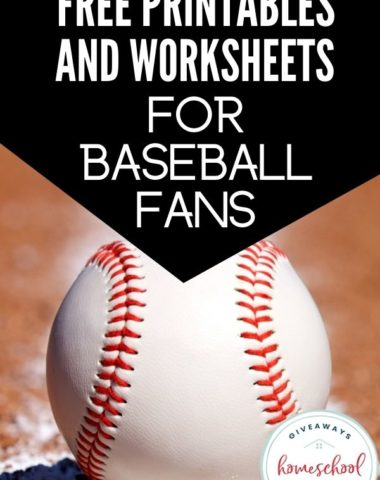 Free Printables and Worksheets for Baseball Fans. #homeschoolgiveaways #baseballtheme #baseballresources #baseballprintables