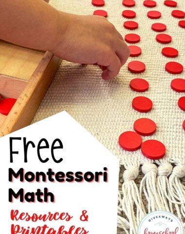 Free Montessori Math Resources & Printables. #homeschoolgiveaways #montessorimath #montessorimathresource #montessorimathprintables