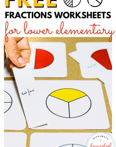fraction for lower elementary activity and text overlay